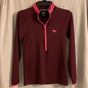 Pink three quarter zip pullover